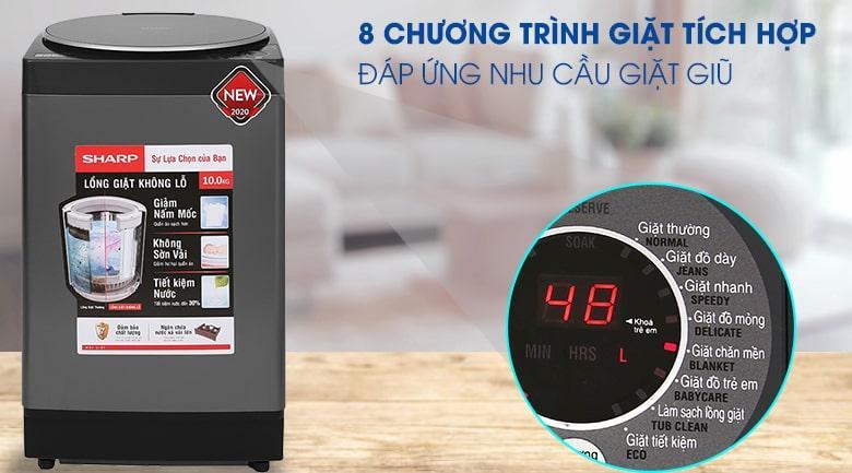 Máy giặt Sharp ES-W100PV-H có 8 chương trình giặt, đáp ứng nhu cầu giặt giũ phong phú