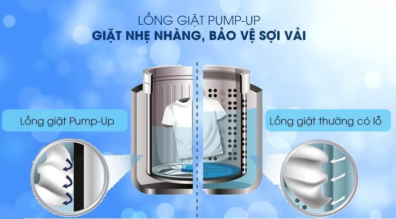 Máy giặt Sharp ES-W100PV-H tránh hư hại sợi vải, giặt nhẹ nhàng với lồng giặt PUMP-UP