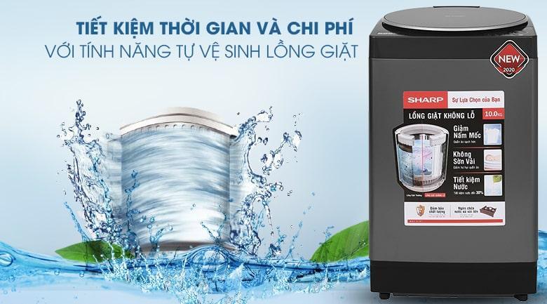 Máy giặt Sharp ES-W100PV-H tiết kiệm thời gian và chi phí với tự vệ sinh lồng giặt