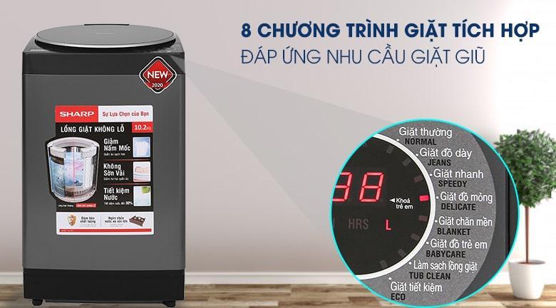 Máy giặt Sharp ES-W102PV-H có tới 8 chương trình giặt, đáp ứng nhu cầu giặt giũ phong phú