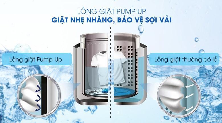 Máy giặt Sharp ES-W102PV-H tránh hư hại sợi vải, giặt nhẹ nhàng với lồng giặt PUMP-UP