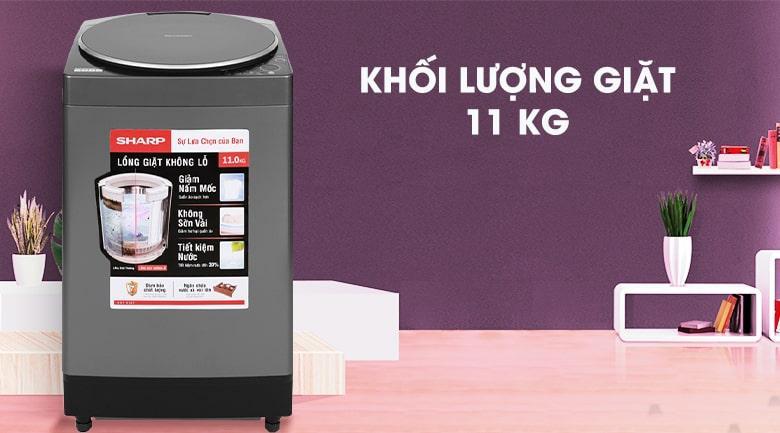 Khối lượng giặt lớn đến 11 kg, thoải mái dùng với gia đình trên 6 thành viên
