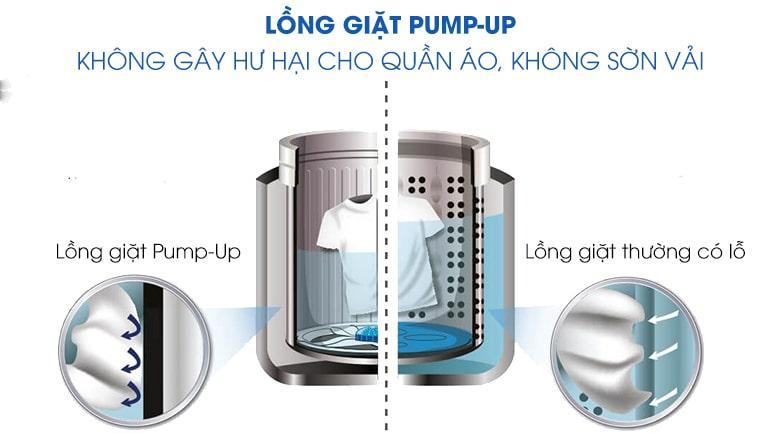 Máy giặt Sharp ES-W110HV-S tránh hư hại sợi vải, giặt nhẹ nhàng với lồng giặt PUMP-UP