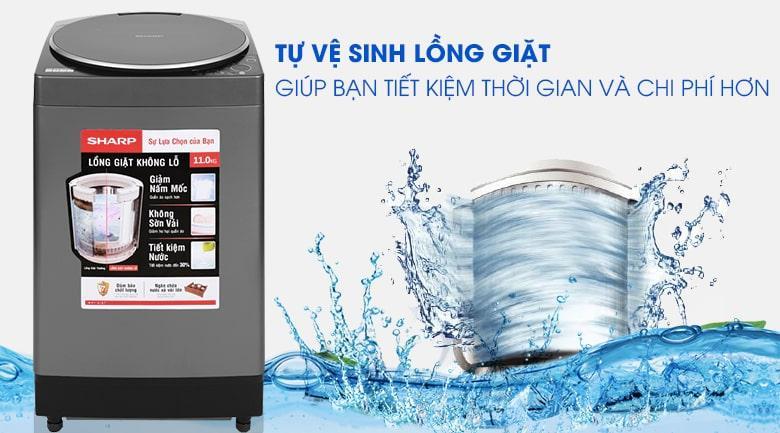 Máy giặt Sharp ES-W110HV-S tiết kiệm chi phí và thời gian với tính năngvệ sinh lồng giặt