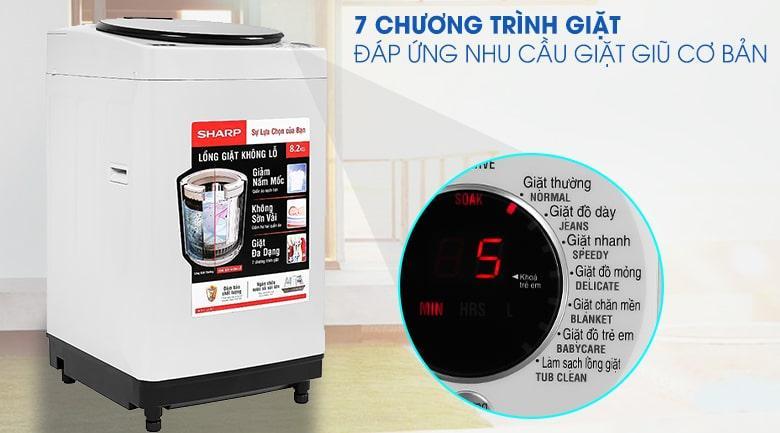 Máy giặt Sharp ES-W82GV-H sở hữu cho mình 7 chương trình giặt
