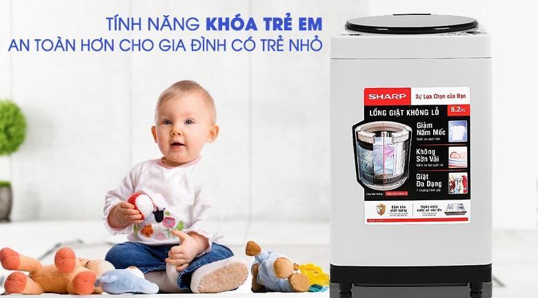 An toàn với chức năng khóa trẻ em máy giặt Sharp ES-W82GV-H