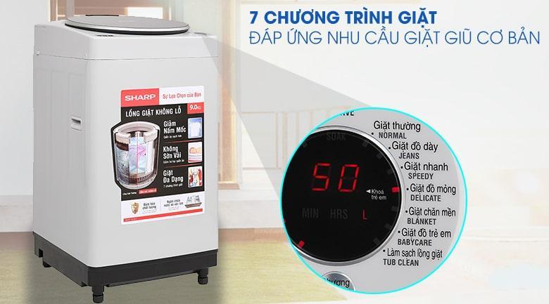 Máy giặt Sharp ES-W90PV-H có 7 chương trình giặt, đáp ứng nhu cầu giặt giũ cơ bản
