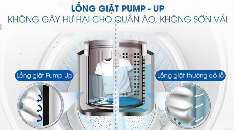 Máy giặt Sharp ES-W90PV-H tẩy vết bẩn nhẹ nhàng, hiệu quả với lồng giặt PUMP-UP không gây hư hại sợi vải