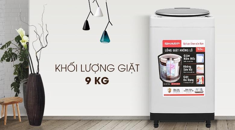 Máy giặt Sharp ES-W90PV-H màu xám sáng, khối lượng 9 kg phù hợp nhà từ 6 thành viên