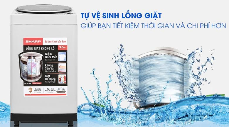 Máy giặt Sharp ES-W90PV-H tiết kiệm thời gian và chi phí với tự vệ sinh lồng giặt