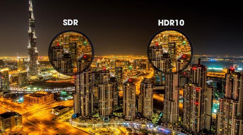 Được trang bị công nghệ HDR10 giúp tăng cường độ tương phản hình ảnh