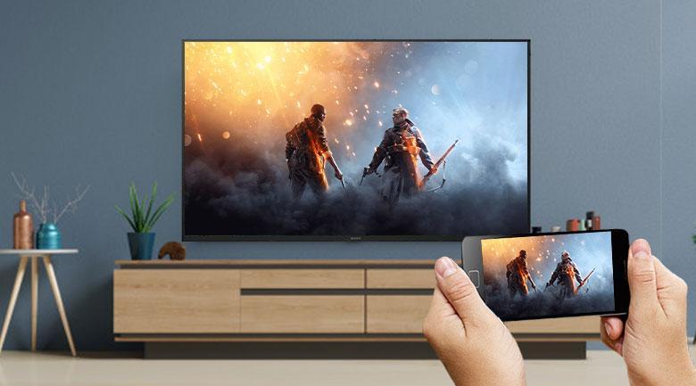 Tivi Sony 55X7500H giúp bạn chia sẻ nội dung trên điện thoại lên màn hình tivi