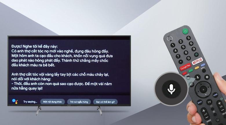 Tivi Sony 75X8000H cho phép bạn tìm kiếm bằng giọng nói tiếng Việt đơn giản