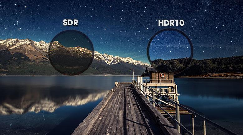 Sở hữu công nghệ HDR10 giúp tăng cường độ tương phản hình ảnh