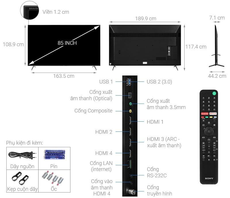 Tổng quan về tivi Sony 85X8000H