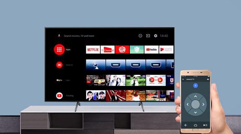 Ứng dụng Android TV trên mẫu Tivi Sony 85X8000H có thể điều khiển tivi bằng ĐT Android