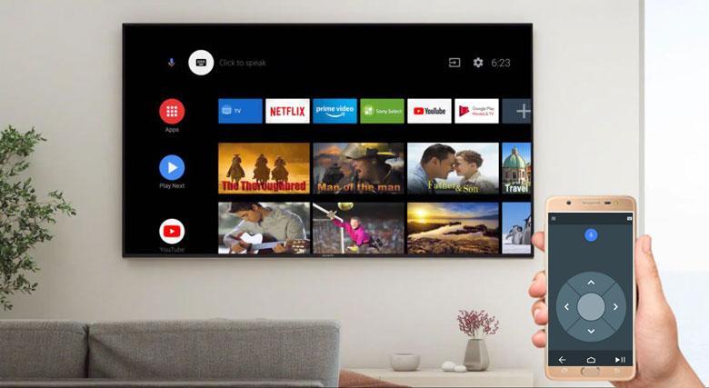 Tivi Sony 43X8000H cóứng dụng Android TV có thể điều khiển tivi bằng điện thoại