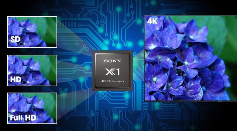 Mẫu tivi KD-43X8000H có thể giảm nhiễu và nâng cấp hình ảnh rất tốt