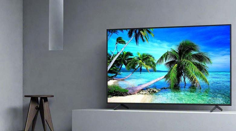 Tivi Sony 55X8000H có thiết kế tinh tế, chân đế bằng kim loại chắc chắn
