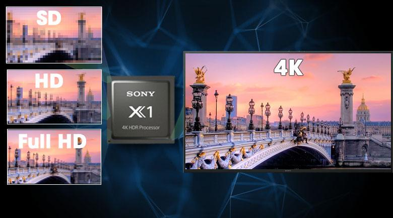 Bộ xử lí chip X1 4K HDR Processor và công nghệ 4K X-Reality PRO giúp hình ảnh được nâng cấp tối đa lên 4K