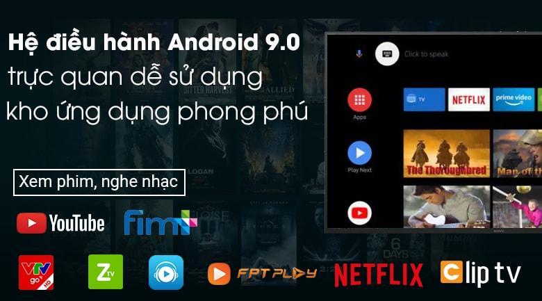 Tivi Sony 65X8000H có kho ứng dụng phong phú trên hệ điều hành Android 9.0