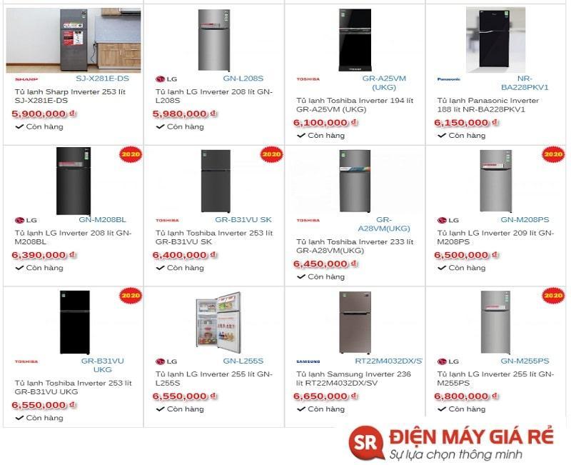 Một số mẫu tủ lạnh Inverter thịnh hành hiện nay :