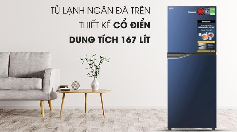 Tủ lạnh Panasonic NR-BA189PAVN thiết kế thanh lịch, ngăn đá trên quen thuộc