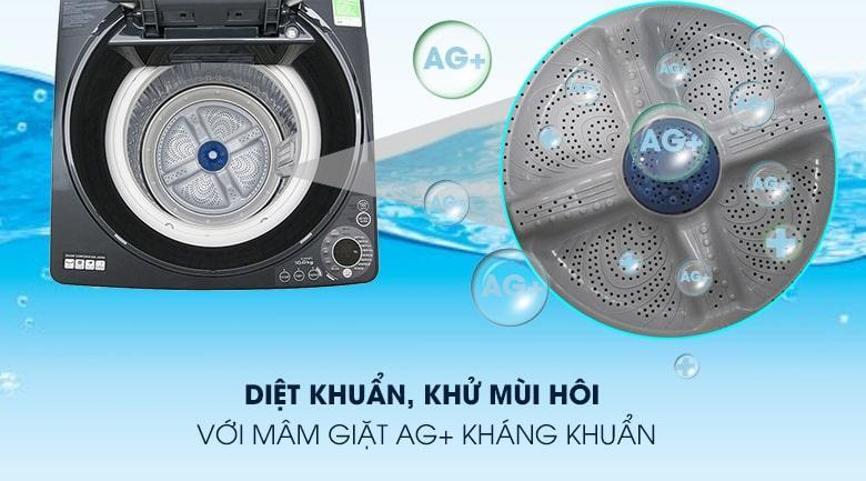 Máy giặt Sharp ES-W100PV-H diệt khuẩn, khử mùi quần áo với mâm giặt Ag+ kháng khuẩn