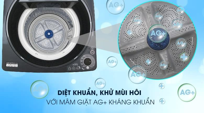 Máy giặt Sharp ES-W102PV-H diệt khuẩn, khử mùi trên quần áo với mâm giặt Ag+ kháng khuẩn cao