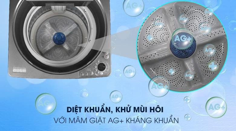 Máy giặt Sharp ES-W110HV-S diệt khuẩn, khử mùi hôi quần áo với mâm giặt Ag+ kháng khuẩn