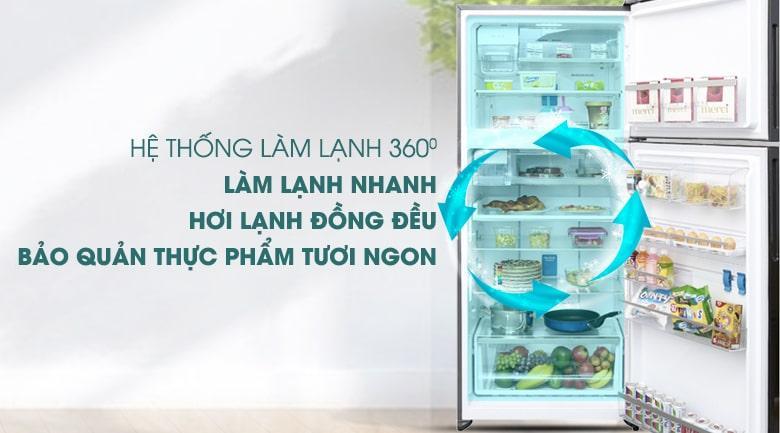 Tủ lạnh Electrolux ETE5722BA công nghệ luồng khí lạnh đa chiều góp phần giúp thực phẩm tươi ngon lâu hơn