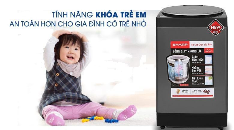 Máy giặt Sharp ES-W95HV-S an toàn với chức năng khóa trẻ em