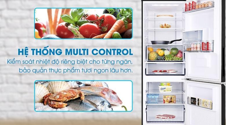 Tủ lạnh Panasonic Inverter 290 lít NR-BV320WKVN kiểm soát nhiệt độ riêng của từng ngăn tủ với hệ thống Multi Control
