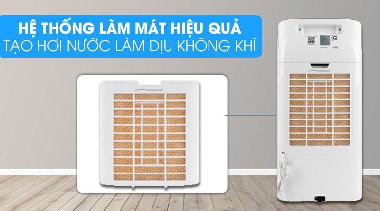 Quạt điều hòa Gree KSWK-10X61D có hệ thống tấm làm mát hiệu quả, tạo hơi nước làm dịu không khí.