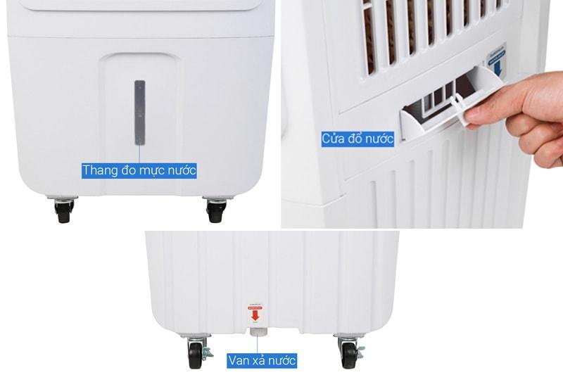 Quạt điều hoà Daikiosan DKA-03500C thiết kế dung tích bình chứa 35 lít, thang đo mực nước tiện lợi quan sát