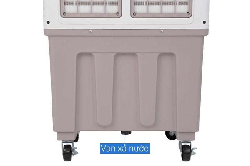Quạt điều hòa Kangaroo KG50F62 có sử dụng van xả nước thừa dưới đáy bình giúp vệ sinh dễ dàng