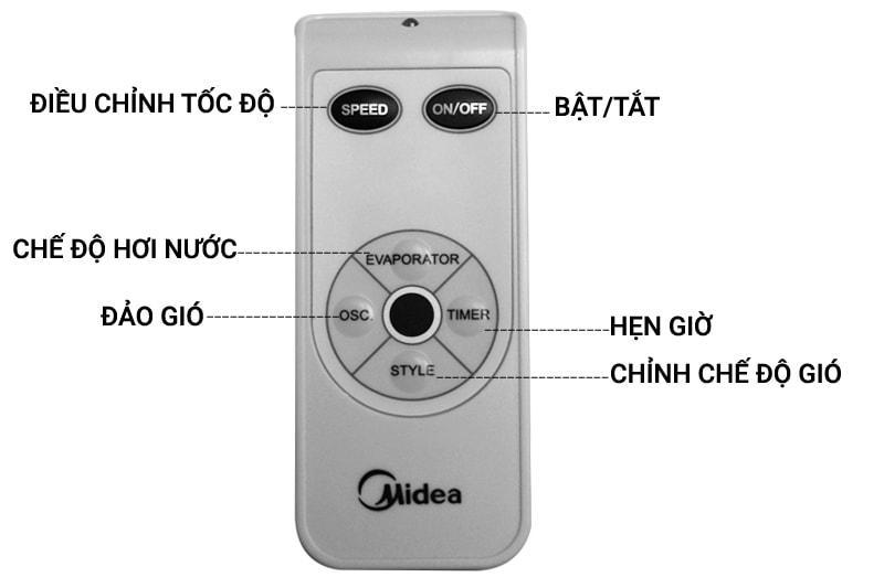 Quạt điều hòa Midea AC100-U điều khiển từ xa hiện đại, tiện lợi sử dụng