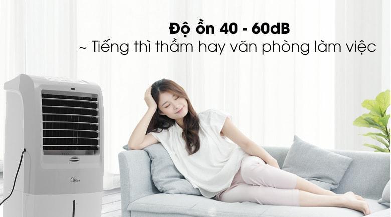 Độ ồn chỉ từ 40 - 60 dB của quạt điều hòa Midea AC120-15F tương đương với tiếng thì thầm, ít gây tiếng ồn