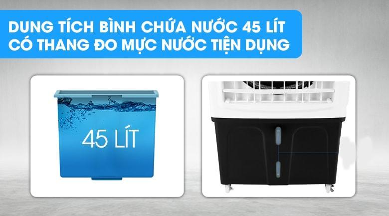 Dung tích bình chứa 45 lít, thang đo mực nước bên ngoài tiện lợi