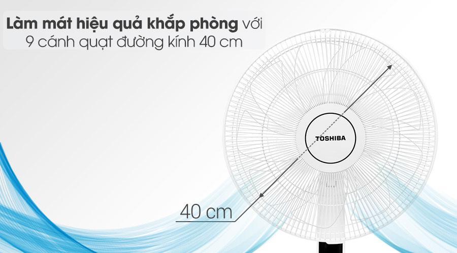 Quạt đứng Toshiba F-LSD30(W)VN làm mát hiệu quả với 9 cánh quạt có dường kính 40 cm