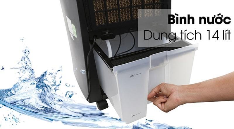 Dung tích bình chứa nước 14 lít cho thời gian sử dụng dài 4 – 6 tiếng, có thang hiển thị mực nước trong bình, thiết kế miệng châm nước thuận tiện và tránh đổ nước