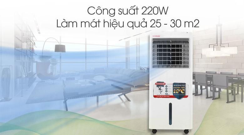 Quạt điều hòa Sunhouse có công suất 220 W, làm mát hiệu quả cho không gian lớn như văn phòng, hội trường,...