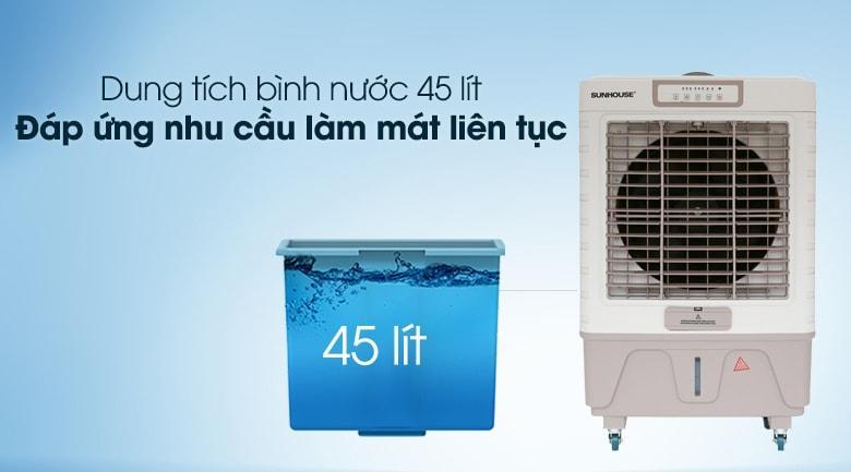 Quạt điều hòa Sunhouse SHD7746 có dung tích bình chứa nước 45 lít, đáp ứng nhu cầu sử dụng liên tục hơn 15 giờ