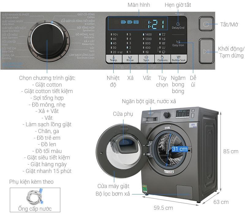 Máy giặt Samsung WW10K54E0UX/SV mô tả chi tiết