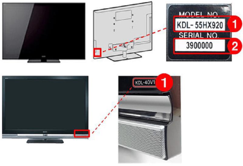 Kiểm tra trên miếng dán thông tín sản phẩm phía sau TV sony