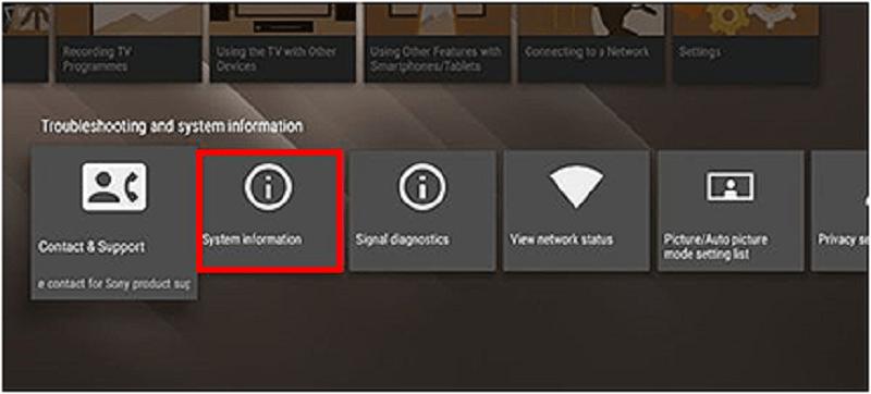 kiểm tra thông tin tivi sony android