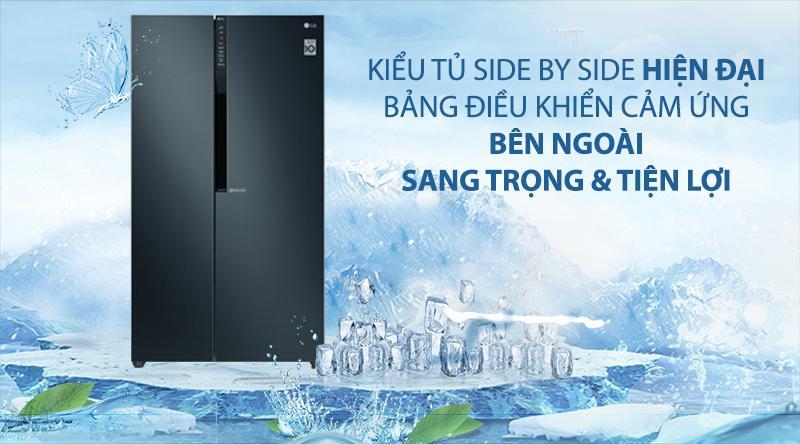 Tủ lạnh LG GR-B247WB có thiết kế hiện đại, với bảng điều khiển bên ngoài tiện lợi