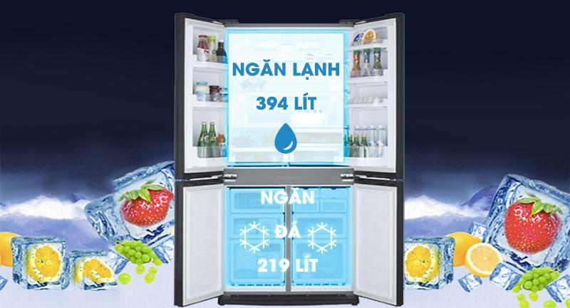 Tủ lạnh LG GR-B247WB Sở hữu dung tích 613 lít có thể sử dụng cho gia đình nhiều thành viên