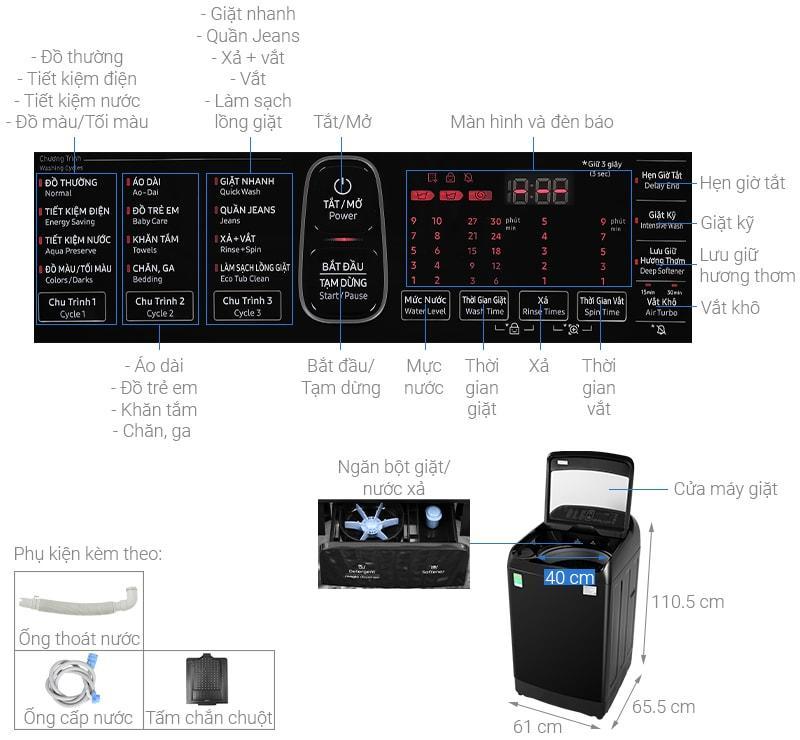 Tổng quan về Máy giặt Samsung WA12T5360BV/SV