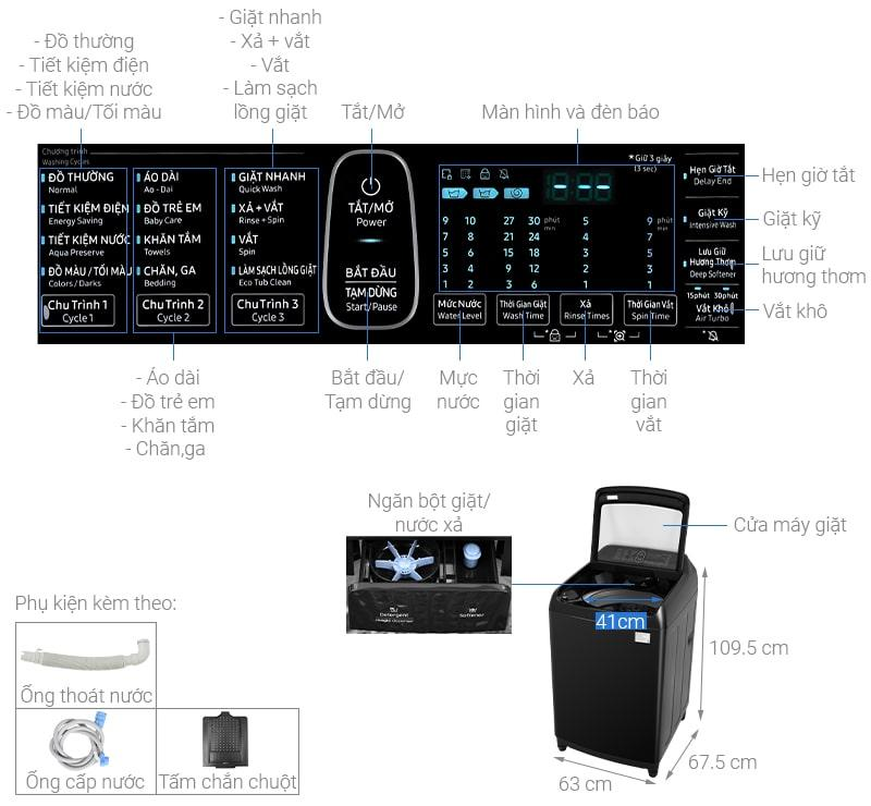 Tổng quan Máy giặt Samsung WA16R6380BV/SV
